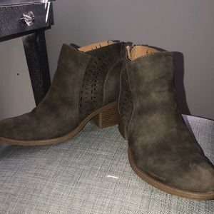 Suede/leather booties
